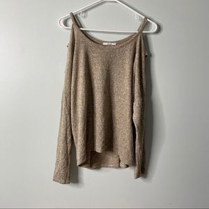 Acemi Tan Layered Cold Shoulder Top Small